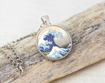 Kanagawa necklace-The great wave necklace-beach necklace-ocean necklace-gift for him-holiday gift-japanese necklace-by NATURA PICTA-NPNK58