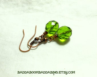 Olive Green Earrings Simple Earrings Copper Earrings Drop Earrings