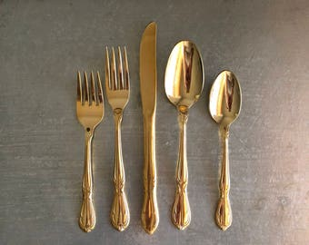 & Gold plated cutlery | Etsy