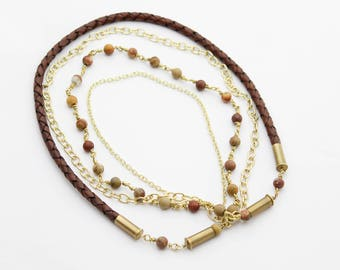 Bolo Leather & Jasper Bullet Necklace