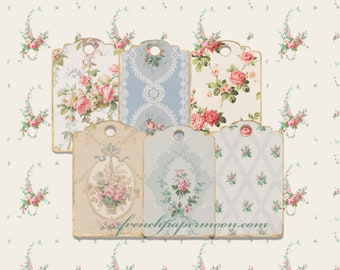 Digital Victorian Wallpaper Tags, Vintage Floral Patterns, Gift Tags, Hang Tags, Printable Tags, Scrapbooking, Digital Tags