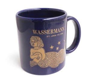 Vintage Aquarius mug in cobalt blue and gold | Zodiac Mug Wassermann