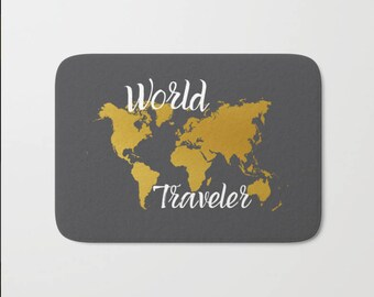 Map bath mat etsy quote world map bath mat traveler beach house yacht or boat decor bath rug home decor could also be used for pets dishes gift for traveler gumiabroncs Choice Image