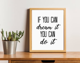 If You Can Dream It You Can Do It Printable | Walt Disney Quote Print | Motivational Quote Printable | Office Decoration | Nursery Art