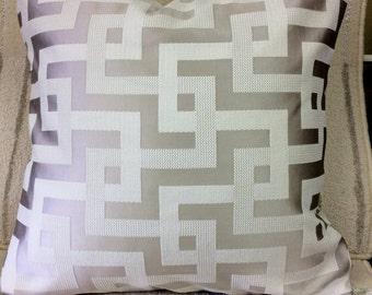 Pillow Cover Gray/Purple Geometric Print w/ Hidden Zipper, 18x18
