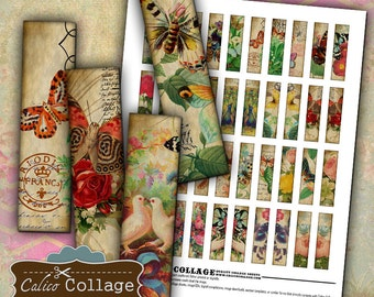 Butterflies Digital Collage Sheet Printable Images .5x2 Half Domino Images for Pendants Earrings Calico Collage Matchstick Size