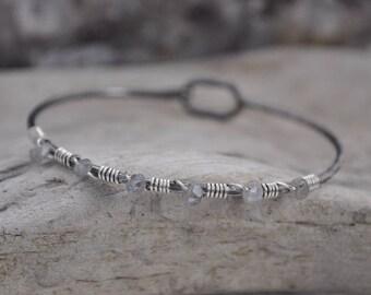 Labradorite Wrapped Latch Bracelet