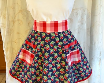 Women's Half apron, Cherry Apron, Navy Blue, Red, White, Apron