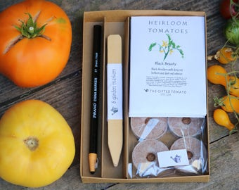 Heirloom Tomato garden gift for gardeners with tomato seeds, seed starting supplies, garden markers and wax pencil.