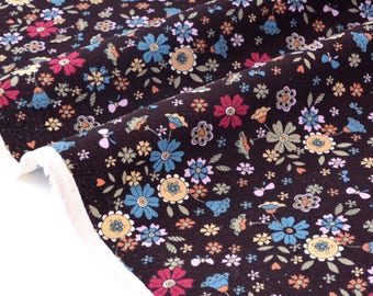 Japanese cotton linen floral background chocolate x 50cm