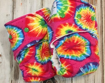 Tie Dye Print Hybrid Fitted Cloth Diaper - OS One Size - FDR Fold Down Rise - Zorb Organic