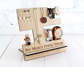 Personalised Jewellery Stand - Multi item storage - Jewelry stand- Rings, necklace, earrings - Wooden Stand - FREE personalisation