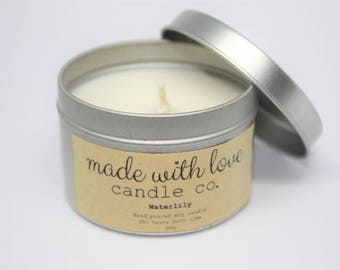 Waterlily Soy Candle Silver Tin Hand Poured 30+ Hours Burn Time