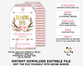 Editable Wild One Birthday Favor Tags, Instant Download Wild One Boho Favor Tags, Girls Editable Wild One Birthday favor Tags, Editable Tags