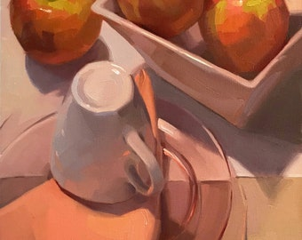 "Fine Art painting fruit apple still life ""Pink Ladies"" 12x16"" original oil on canvas by Sarah Sedwick"