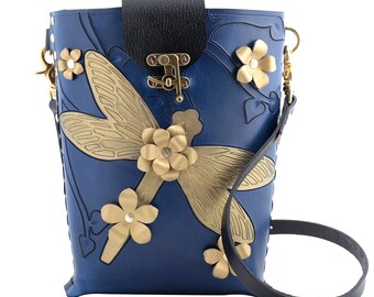 dragonfly purse, gold dragonfly, bucket bag, crossbody satchel, bucket bags, blue messenger bag, blue cross body bag, cross body tote