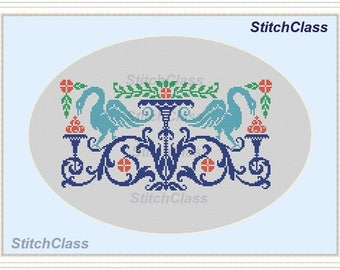 Swans and fruits in flowers Cross Stitch Pattern PDF monochrome Geese and fruits in flowers cross-stitch patterns