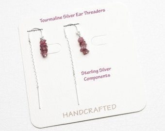 Pink Tourmaline Silver Ear Threads, Silver Ear Threaders, Silver Threader Earrings, Pink Tourmaline Jewelry, Pink Tourmaline Earrings