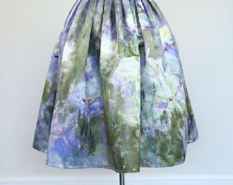 Fine Art Collection Monet oil painting Water Lilies Lotus purple or green theme skirt