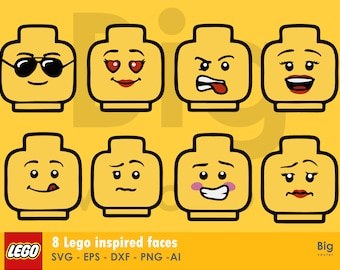 Lego faces figures EPS SVG PNG Ai dxf cuttable and printable files