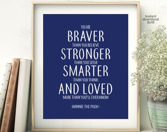 Winnie The Pooh Quote, You Are Braver Than You Believe Print,  Nursery Decor, Scandinavian Kids, Inspirational Kids, Nursery Print