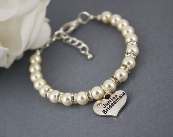 Junior Bridesmaid Gift Charm Bracelet Junior Bridesmaid Jewelry for Her Pearl Bracelet Thank you Gift Swarovski Bracelet