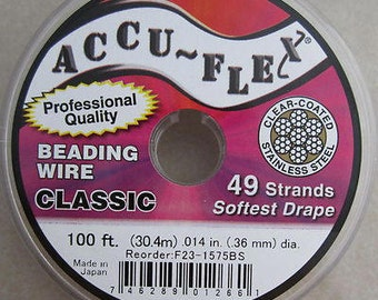 100' Accu-Flex clear coated steel beading wire 49 strand .014 inch
