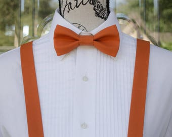 Autumn Orange Bow Tie & Suspender - Longhorn 231B  (Infant - Adult)  Weddings - Groomsmen - Graduation - Fall Weddings - Mens Fashions