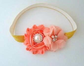 Gold and Peach First Birthday Headband - Peach Baby Headband - Gold Baby Headband - Newborn Headband - Infant Headband - Gold Hair Bows