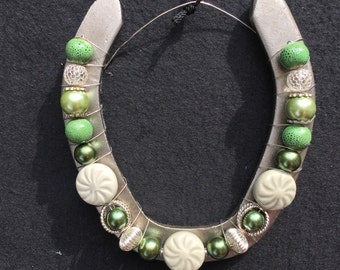 Green Beaded Decorative Horseshoe