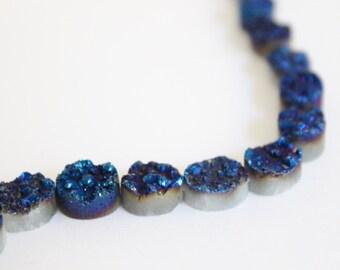 2 Pieces - Oval Dark Blue Metallic Druzy Beads - 10mm Side Drilled Oval Druzy - Druzy Cabochon Sparkling Druze - Metallic Druzy / DB-006