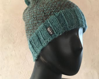 Classic warm winter pompom hat / Turquoise and brown