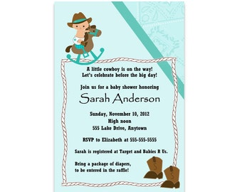 Cowboy or Cowgirl Baby Shower Invitation - Multiple Color Options -  You Print