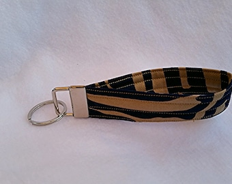 key fob, patterned key chian,blue and brown keychain, wristlet