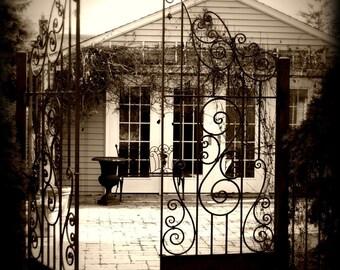 Scroll Gate Sepia Square Fine Art Photograph on Metallic Paper