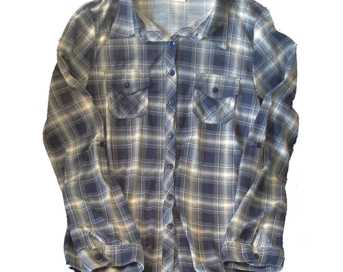 Woman's Large Urban Girl Made with Love Lightweight Plaid Flannel Shirt