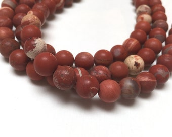 White Lace Red Jasper Round Beads. Matte Finish. Opaque. Gemstone Beads. Center Drilled. 8mm. Full 15-16 Inch Strand.