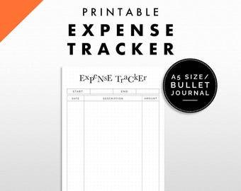 Expense Tracker Printable | Bullet Journal / A5 Size | Minimalist Design
