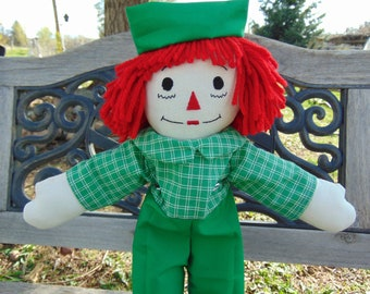 15 inch Raggedy Andy Cloth Doll with Green Plaid shirt, Green pants
