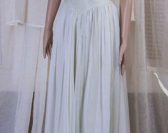 Alluring 1950s Alfred Angelo, Edythe Vincent full length scarf dress. Princess waist, Elegant, crisp, clean, GORGEOUS!