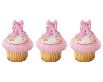 Iridescent Ballet Slipper Cupcake Rings - 12 Rings
