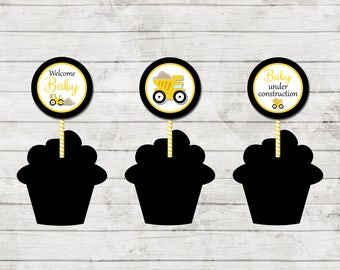 Cupcake Toppers - Construction Baby Shower - Party Circles Cupcake Toppers - Yellow and Black - INSTANT DOWNLOAD - Printable