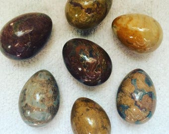 Set of Seven Polished Marble Eggs