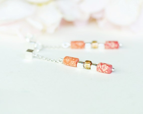 Minimalist earrings 'Pimpinella', sterling silver, pink and coral-colored long pendant