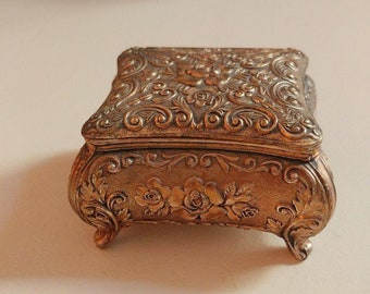 Vintage Brass Trinket Box // Brass Jewelry Box // Vintage Boho Decor