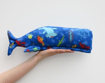 Stuffed whale toy plush softie big whale handmade sea creature child friendly toy blue turquoise fish baby shower gift idea
