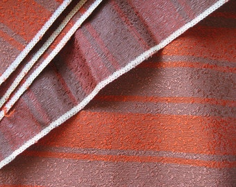 Mid Century Upholstery Fabric - Horizontal Stripe in Orange and Brown - Nubby Texture