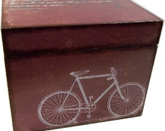 Recipe Box, Decoupaged, Bicycle Box, Large Handcrafted Kitchen Storage, Organization Box, Holds 4x6 Cards  MADE TO ORDER