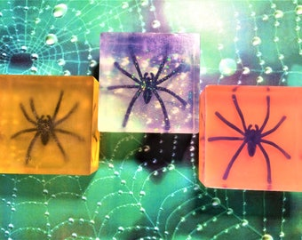 3 Spider Soaps-Halloween Soap-Discovery Spider Soap-Kids Soap-Party Favor-Gothic Gift-You Pick Color