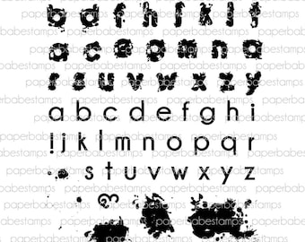 Watercolour Alphabet Stamp Set - Paperbabe Stamps - Clear Photopolymer Stamps - For paper crafting and scrapbooking.